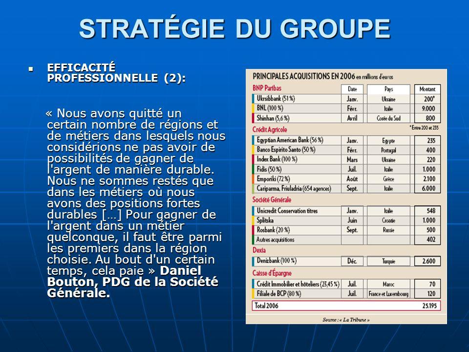 STRATÉGIE DU GROUPE EFFICACITÉ PROFESSIONNELLE (2):