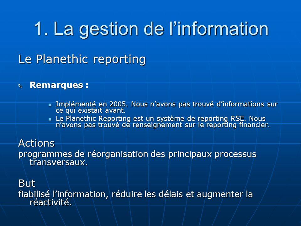 1. La gestion de l'information