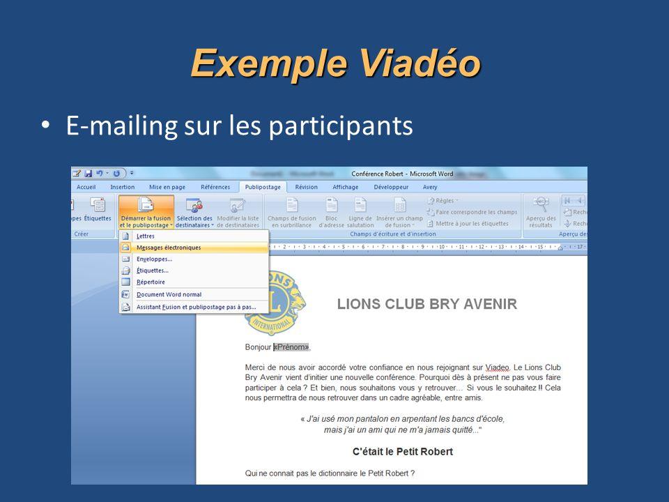 Exemple Viadéo E-mailing sur les participants