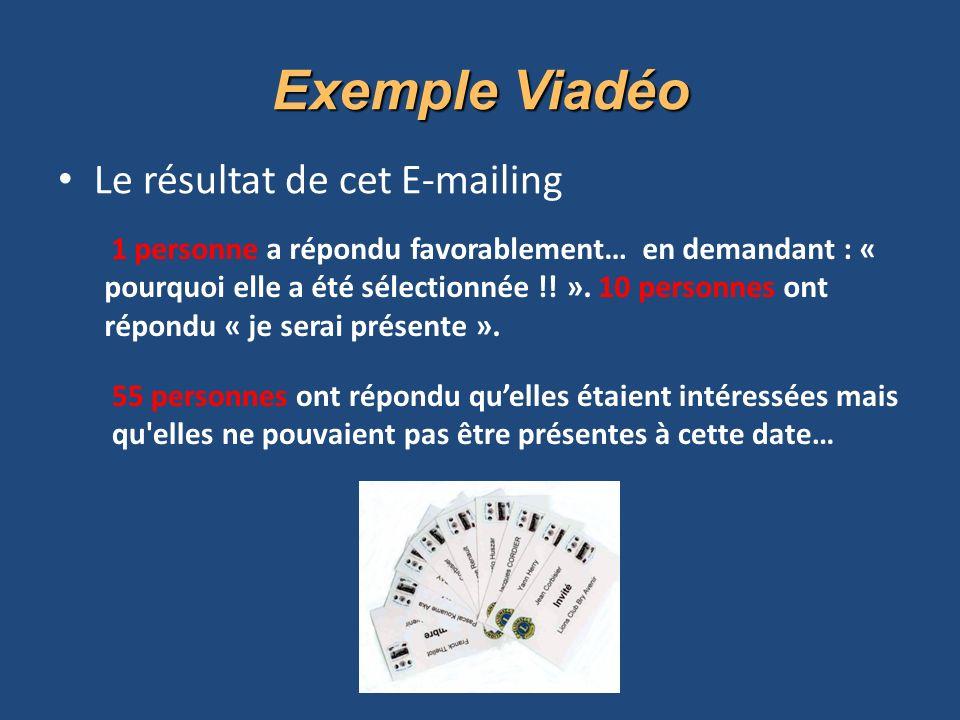 Exemple Viadéo Le résultat de cet E-mailing