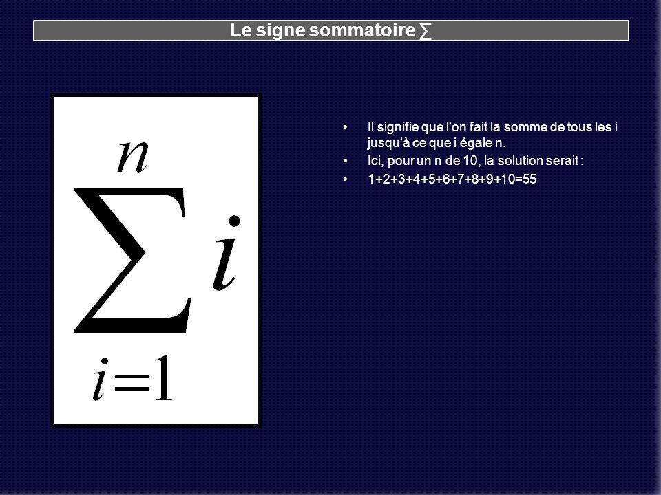 Le signe sommatoire ∑ Il signifie que l'on fait la somme de tous les i jusqu'à ce que i égale n. Ici, pour un n de 10, la solution serait :