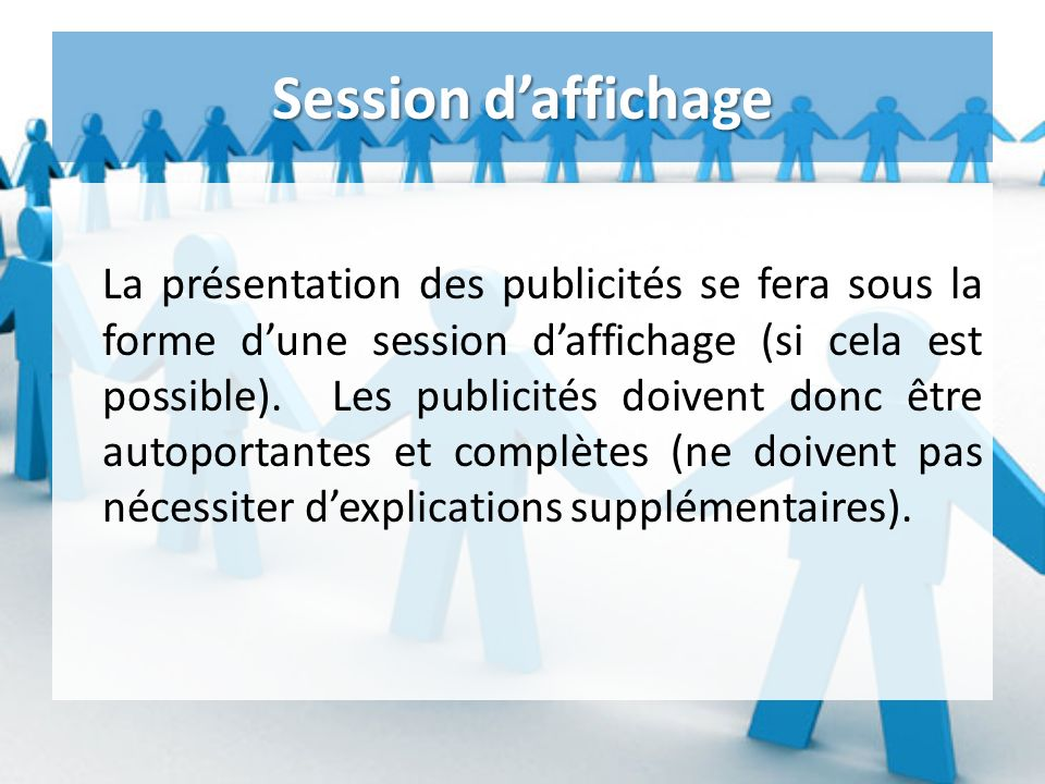 Session d'affichage