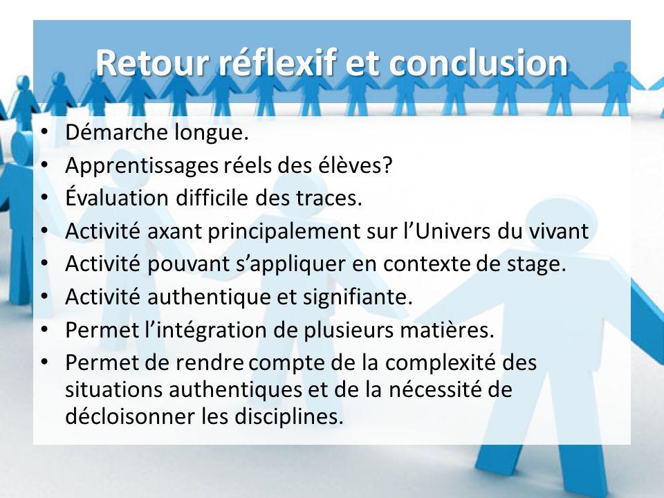 Retour réflexif et conclusion