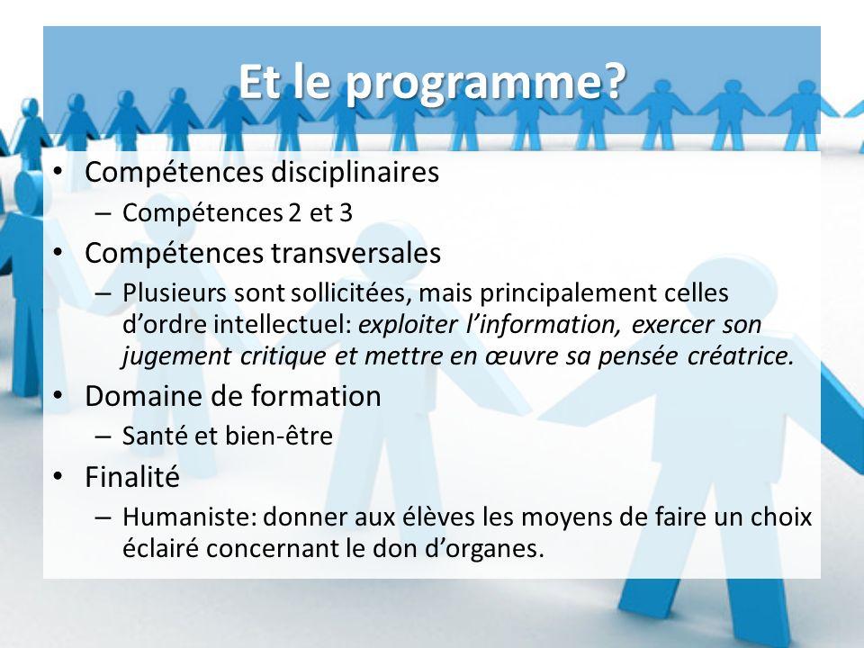 Et le programme Compétences disciplinaires Compétences transversales