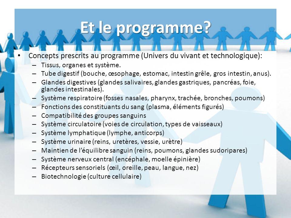 Et le programme Concepts prescrits au programme (Univers du vivant et technologique): Tissus, organes et système.