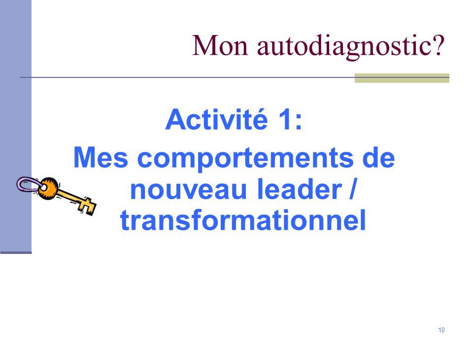 Mes comportements de nouveau leader / transformationnel