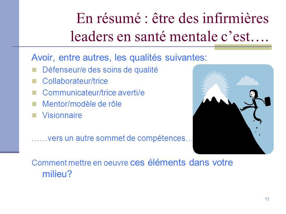 En résumé : être des infirmières leaders en santé mentale c'est….