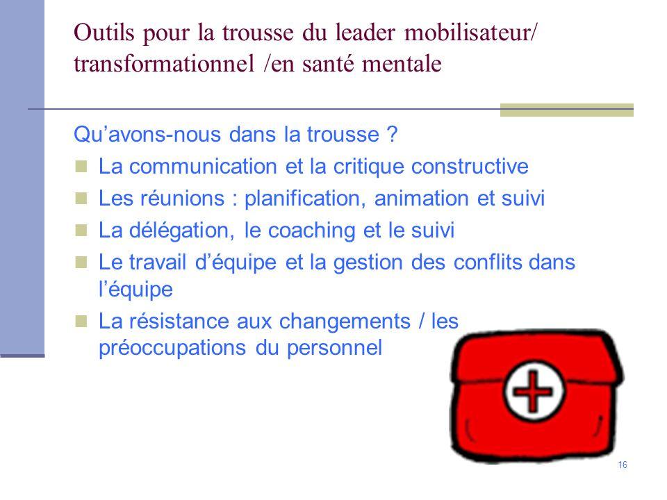 Outils pour la trousse du leader mobilisateur/ transformationnel /en santé mentale