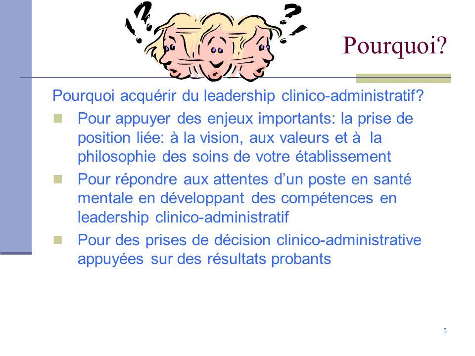 Pourquoi Pourquoi acquérir du leadership clinico-administratif