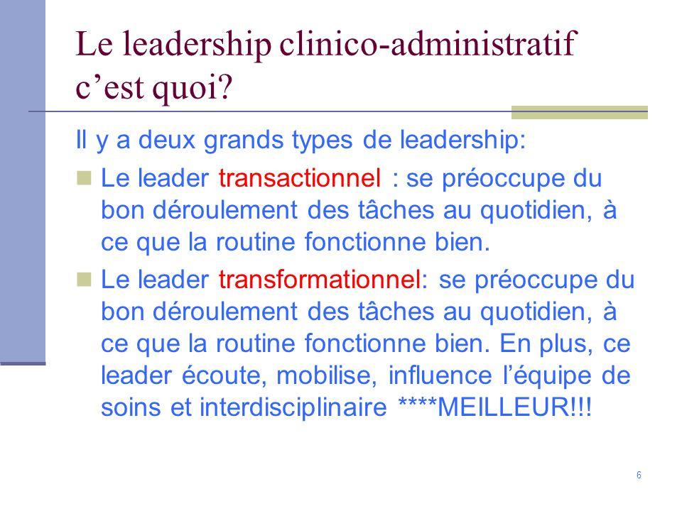 Le leadership clinico-administratif c'est quoi