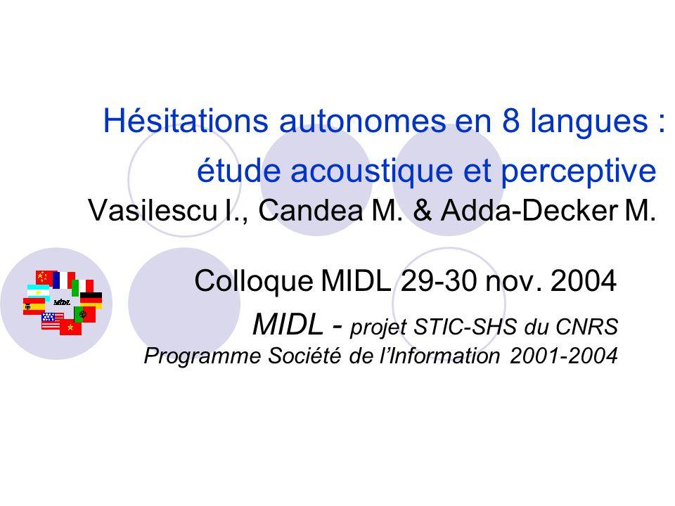 Hésitations autonomes en 8 langues :