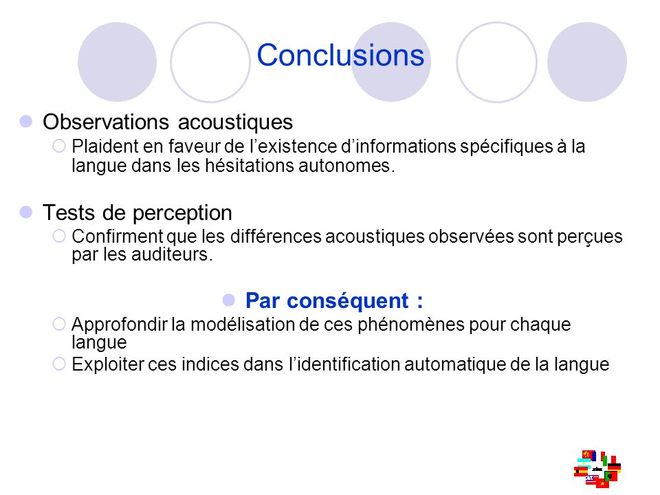 Conclusions Observations acoustiques Tests de perception