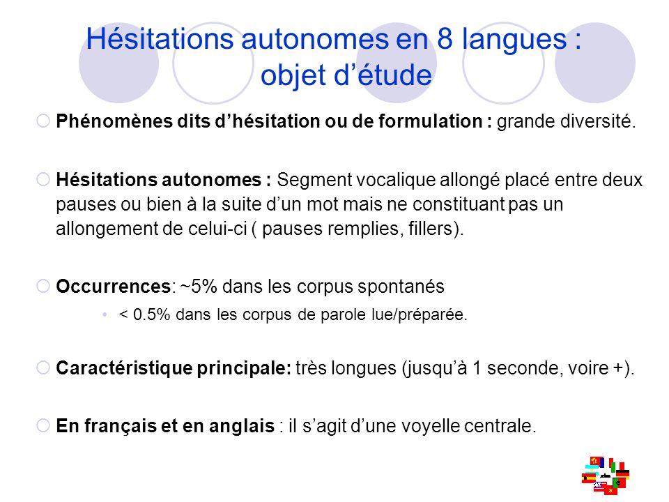 Hésitations autonomes en 8 langues : objet d'étude