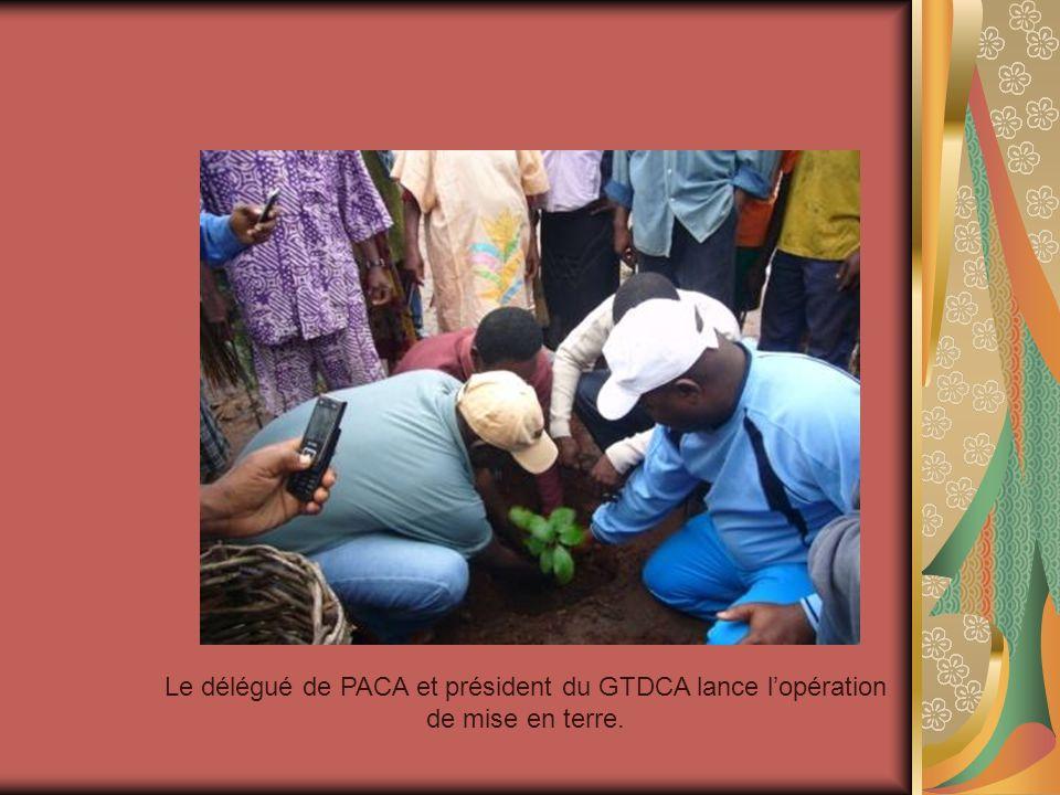 Le délégué de PACA et président du GTDCA lance l'opération de mise en terre.