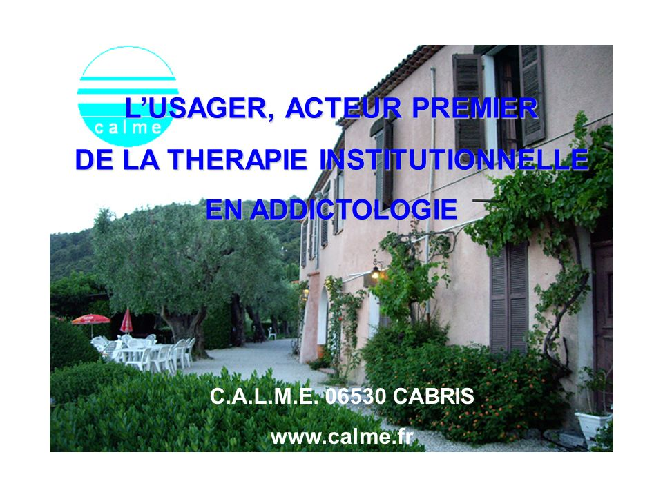 L'USAGER, ACTEUR PREMIER DE LA THERAPIE INSTITUTIONNELLE