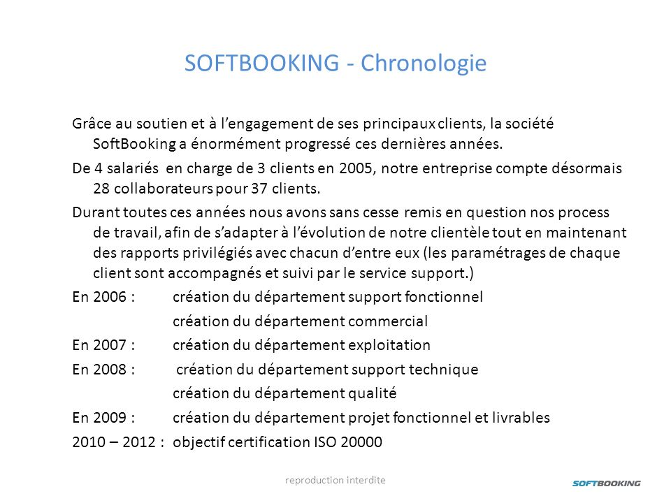 SOFTBOOKING - Chronologie