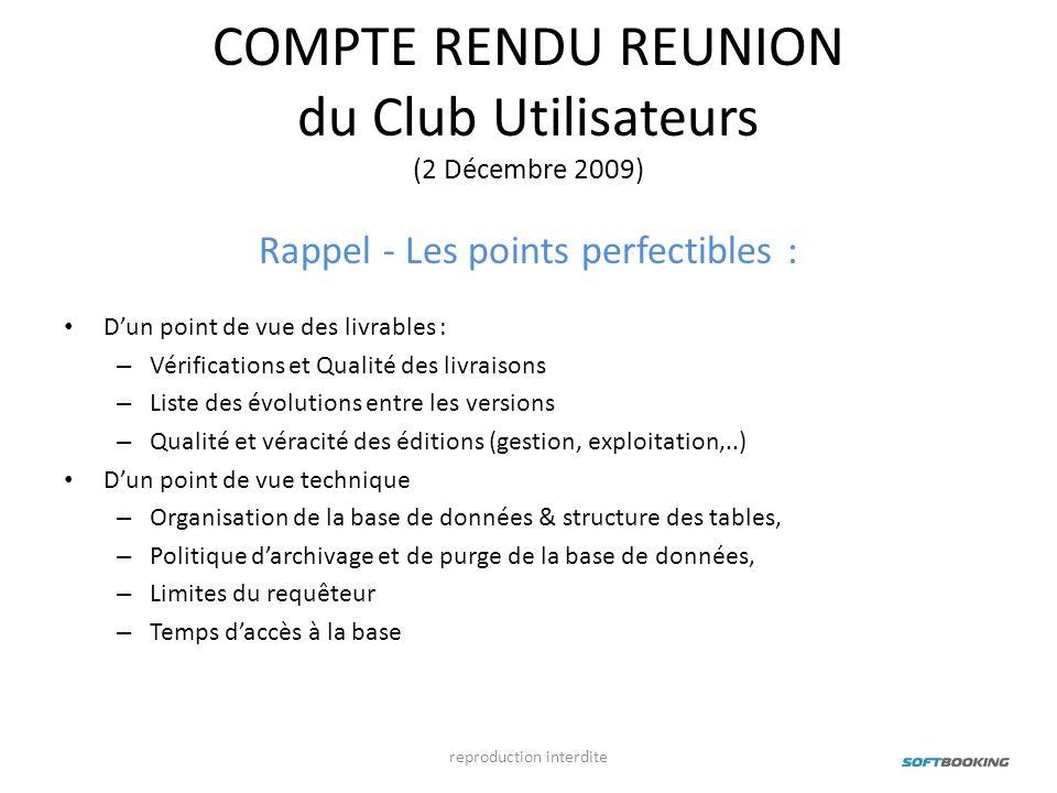 COMPTE RENDU REUNION du Club Utilisateurs (2 Décembre 2009)