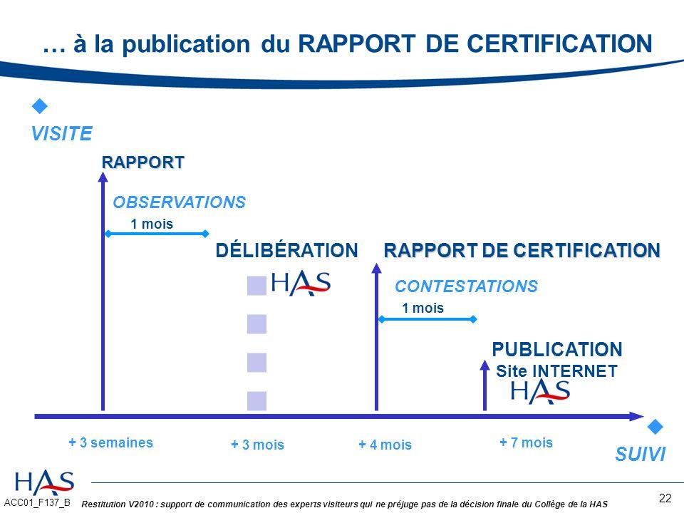 … à la publication du RAPPORT DE CERTIFICATION