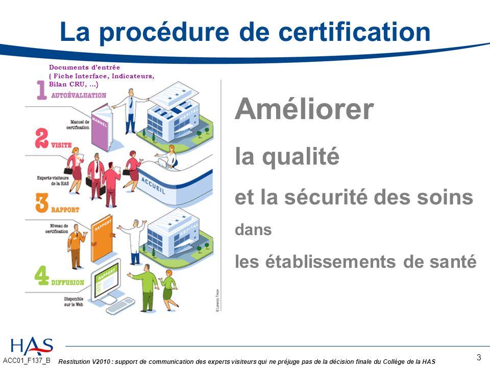 La procédure de certification