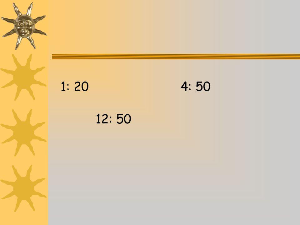 1: 20 4: 50 12: 50
