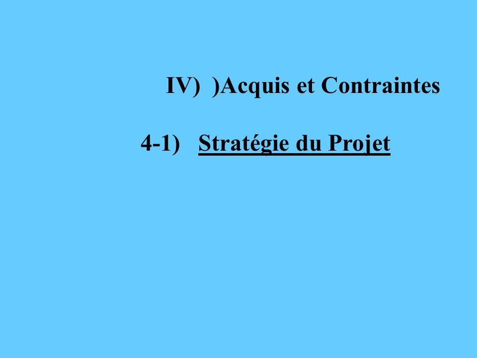 IV) )Acquis et Contraintes