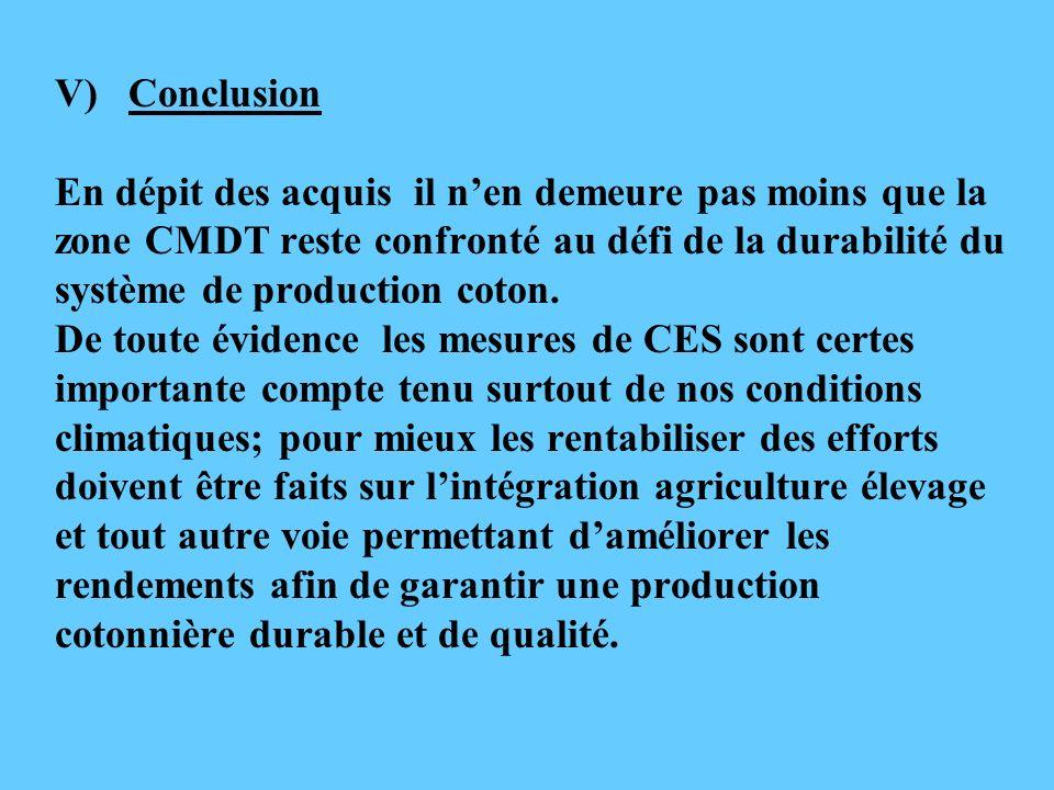 V) Conclusion En dépit des acquis il n'en demeure pas moins que la zone CMDT reste confronté au défi de la durabilité du système de production coton.