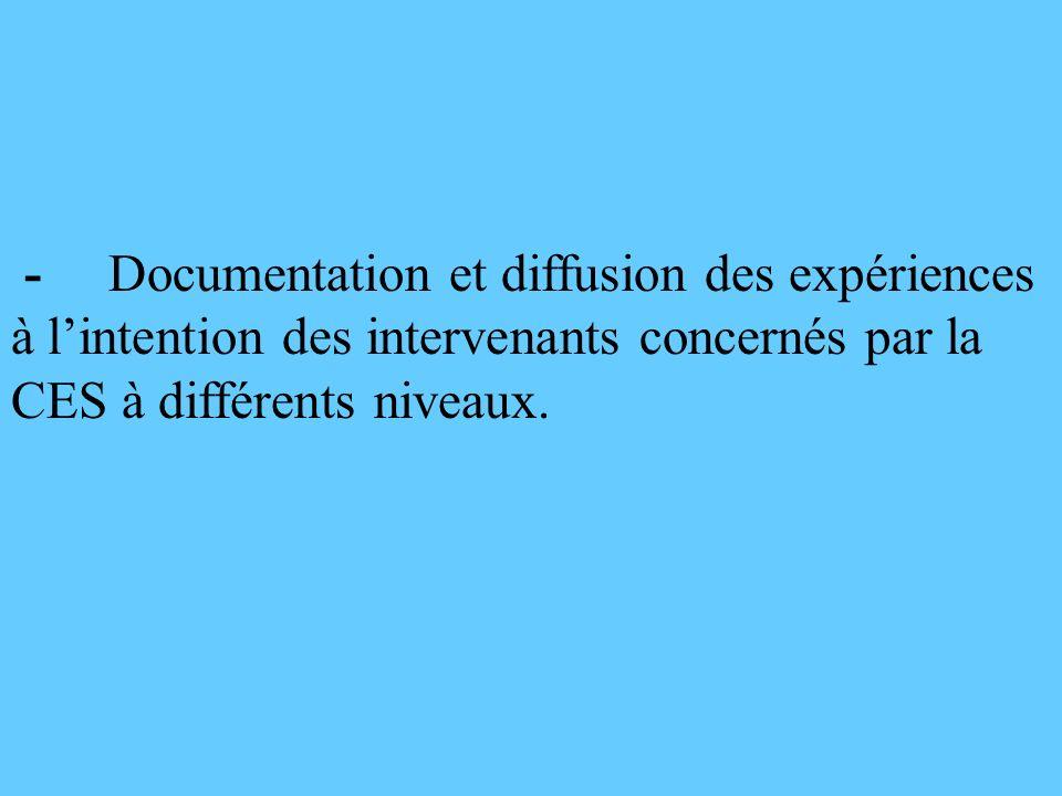 - Documentation et diffusion des expériences à l'intention des intervenants concernés par la CES à différents niveaux.