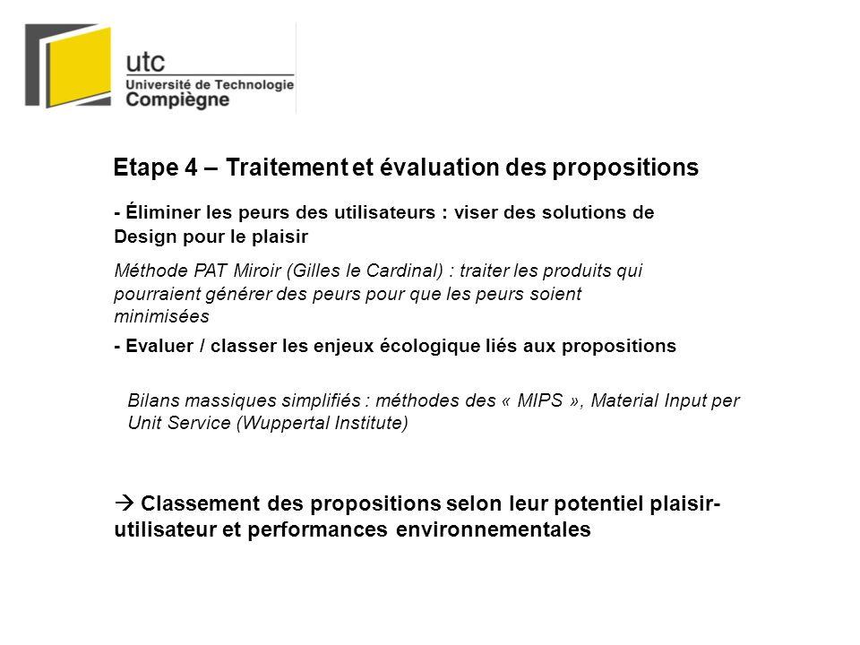 Etape 4 – Traitement et évaluation des propositions