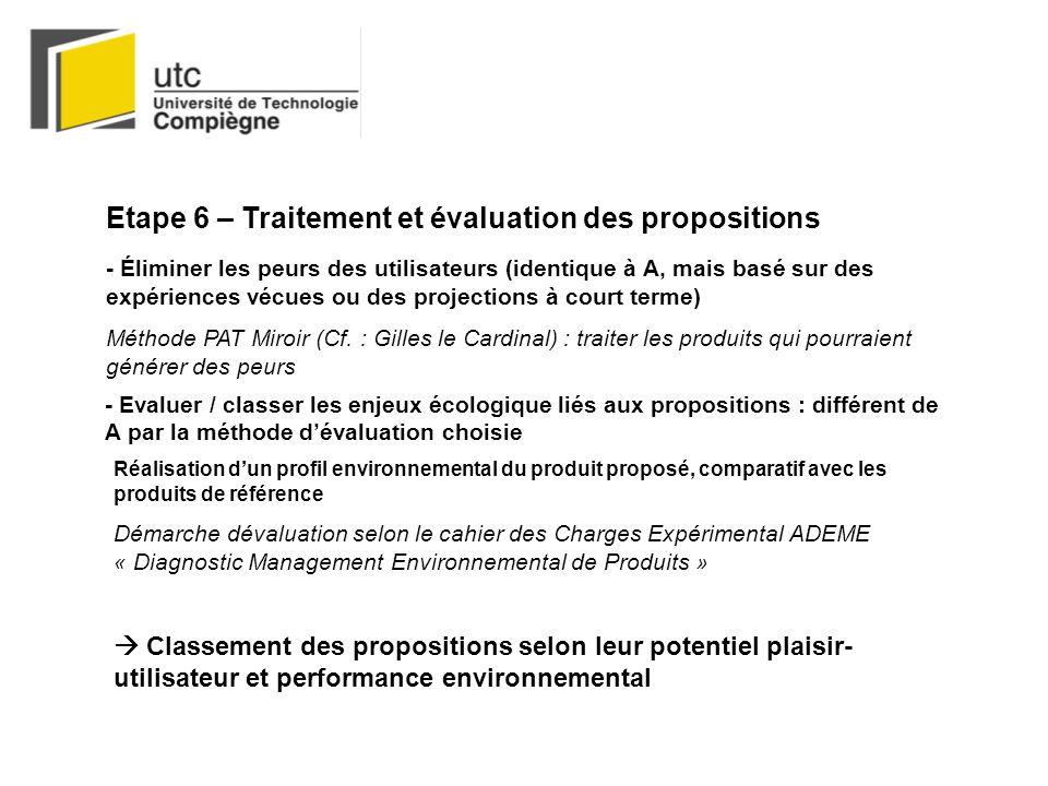 Etape 6 – Traitement et évaluation des propositions