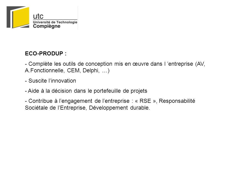 ECO-PRODUP : - Complète les outils de conception mis en œuvre dans l 'entreprise (AV, A.Fonctionnelle, CEM, Delphi, …)