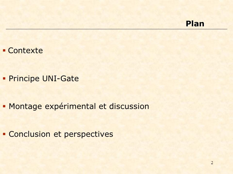 Plan Contexte Principe UNI-Gate Montage expérimental et discussion Conclusion et perspectives