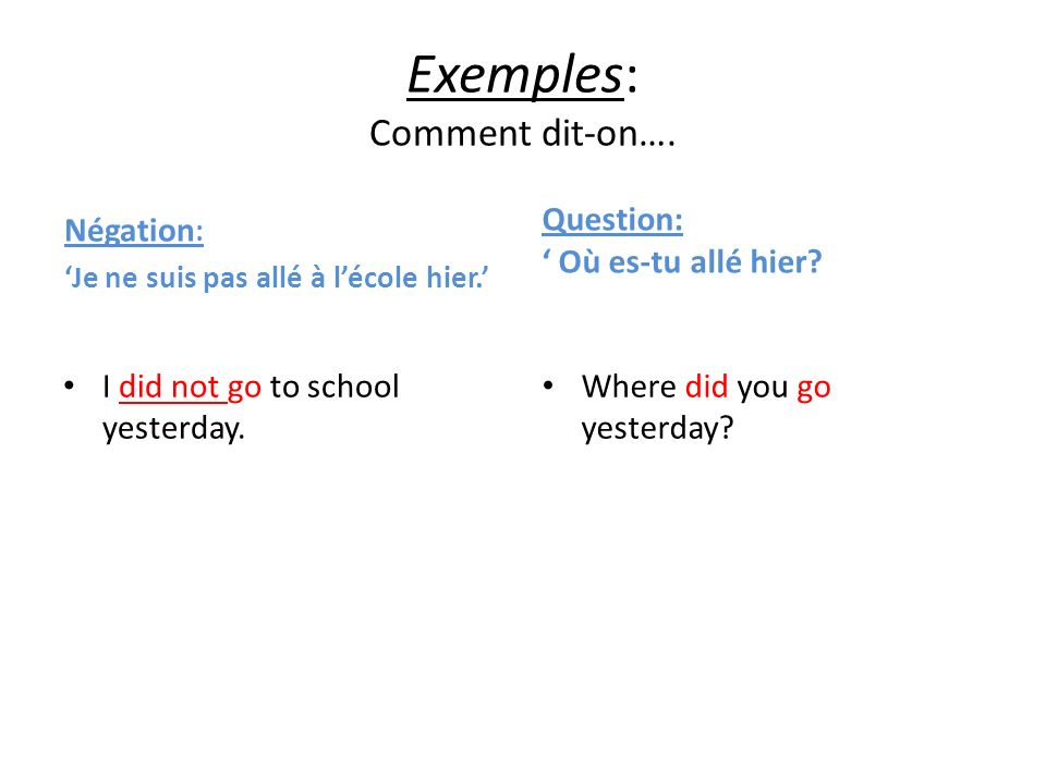 Exemples: Comment dit-on….