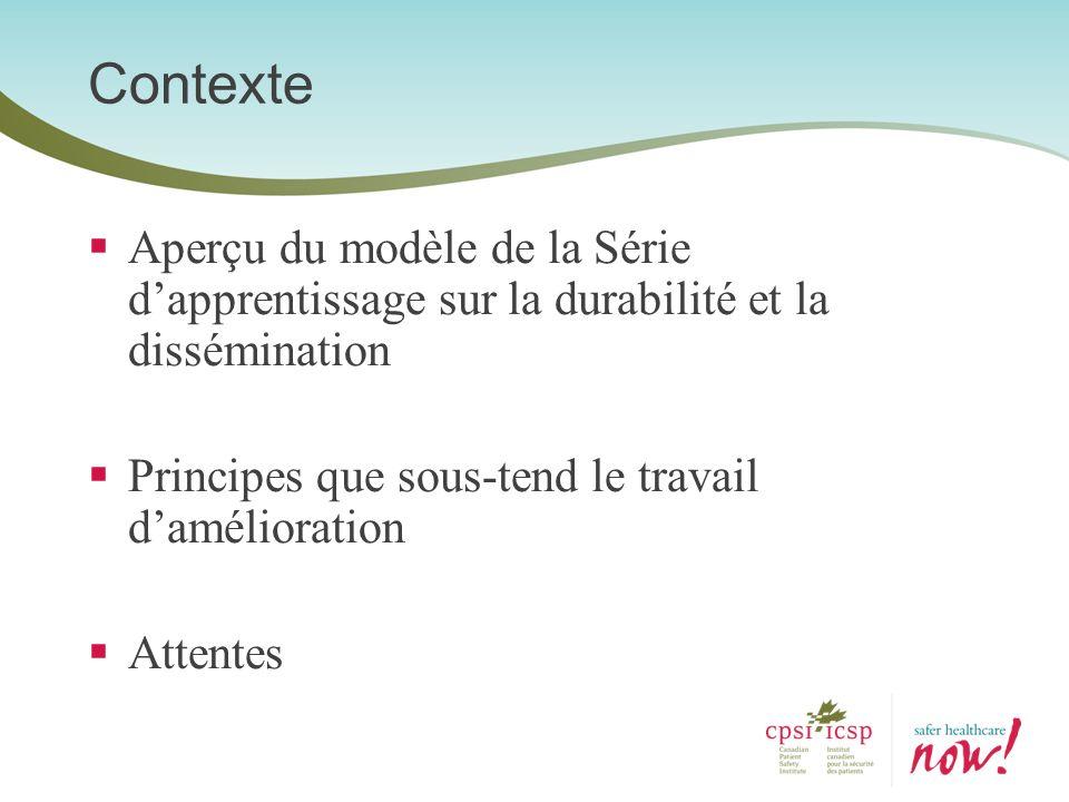 Contexte Aperçu du modèle de la Série d'apprentissage sur la durabilité et la dissémination. Principes que sous-tend le travail d'amélioration.