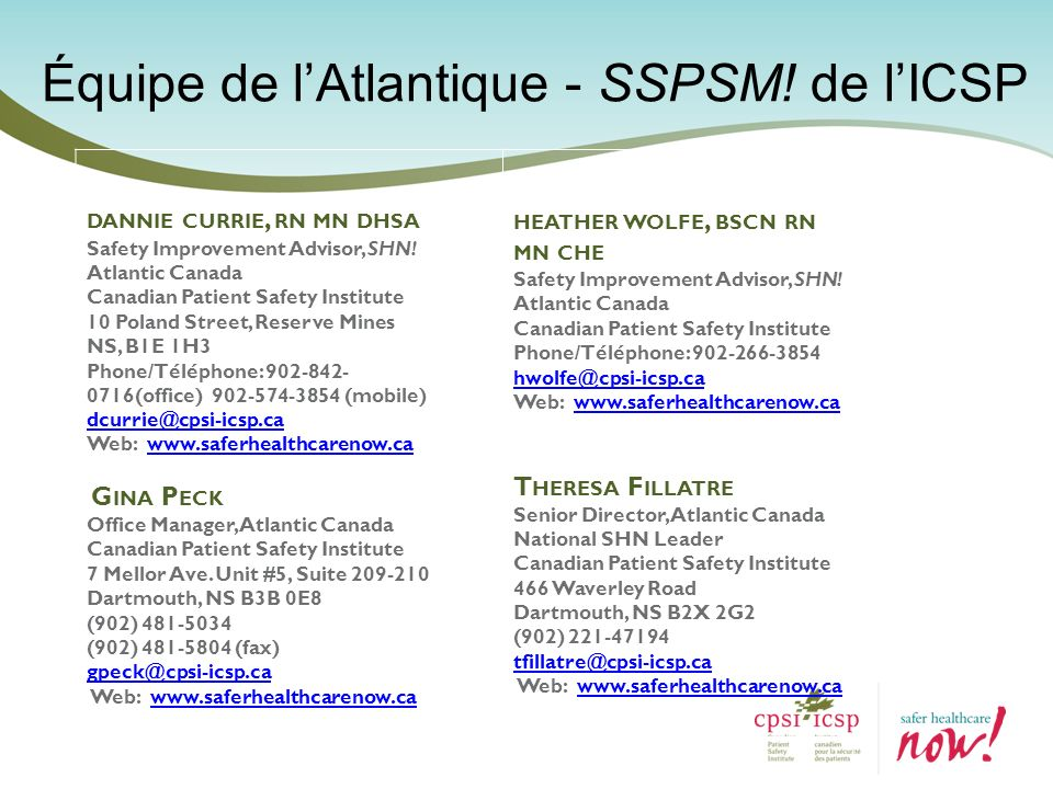 Équipe de l'Atlantique - SSPSM! de l'ICSP