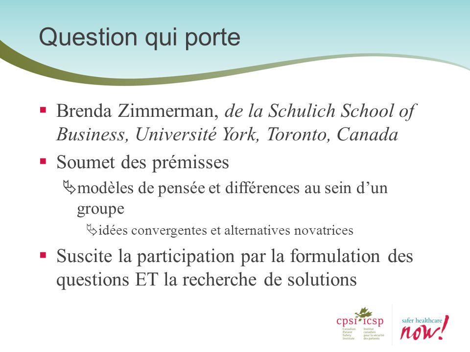 Question qui porte Brenda Zimmerman, de la Schulich School of Business, Université York, Toronto, Canada.