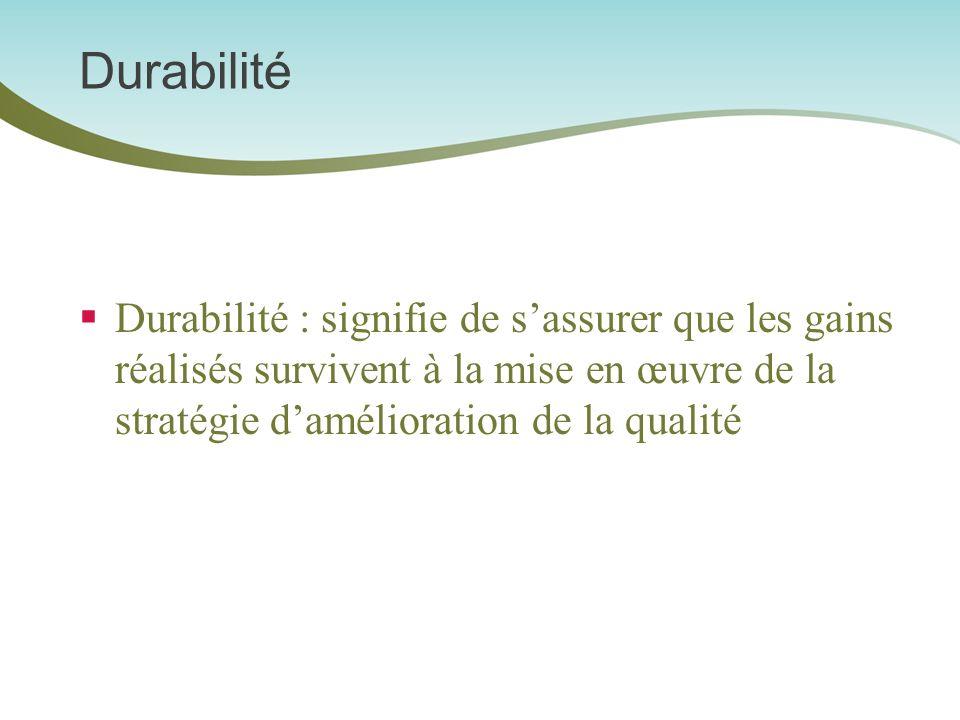 Durabilité Durabilité : signifie de s'assurer que les gains réalisés survivent à la mise en œuvre de la stratégie d'amélioration de la qualité.