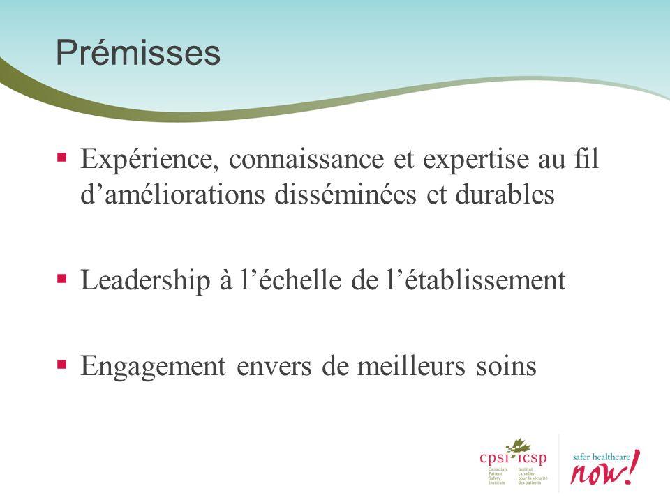 Prémisses Expérience, connaissance et expertise au fil d'améliorations disséminées et durables. Leadership à l'échelle de l'établissement.