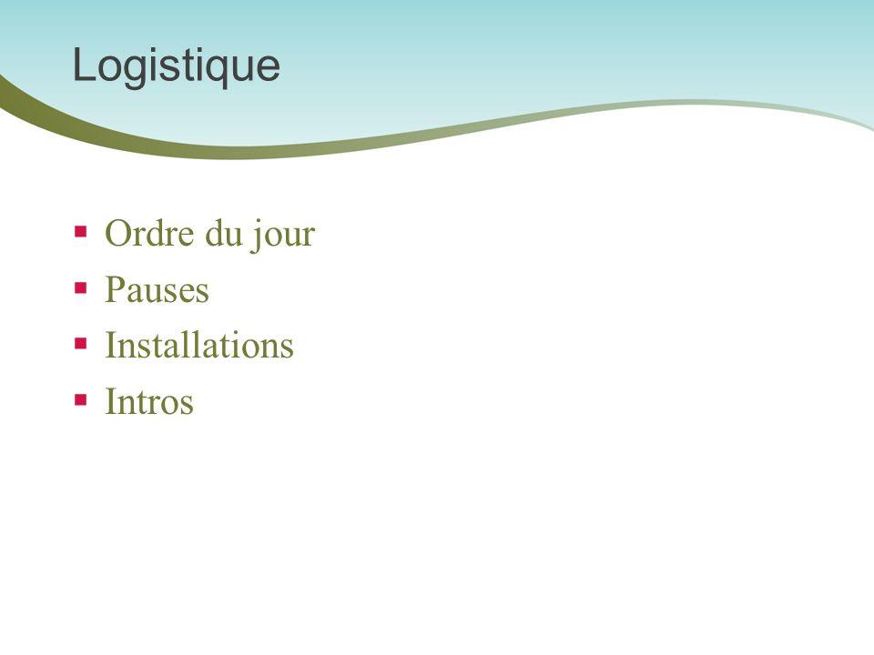 Logistique Ordre du jour Pauses Installations Intros