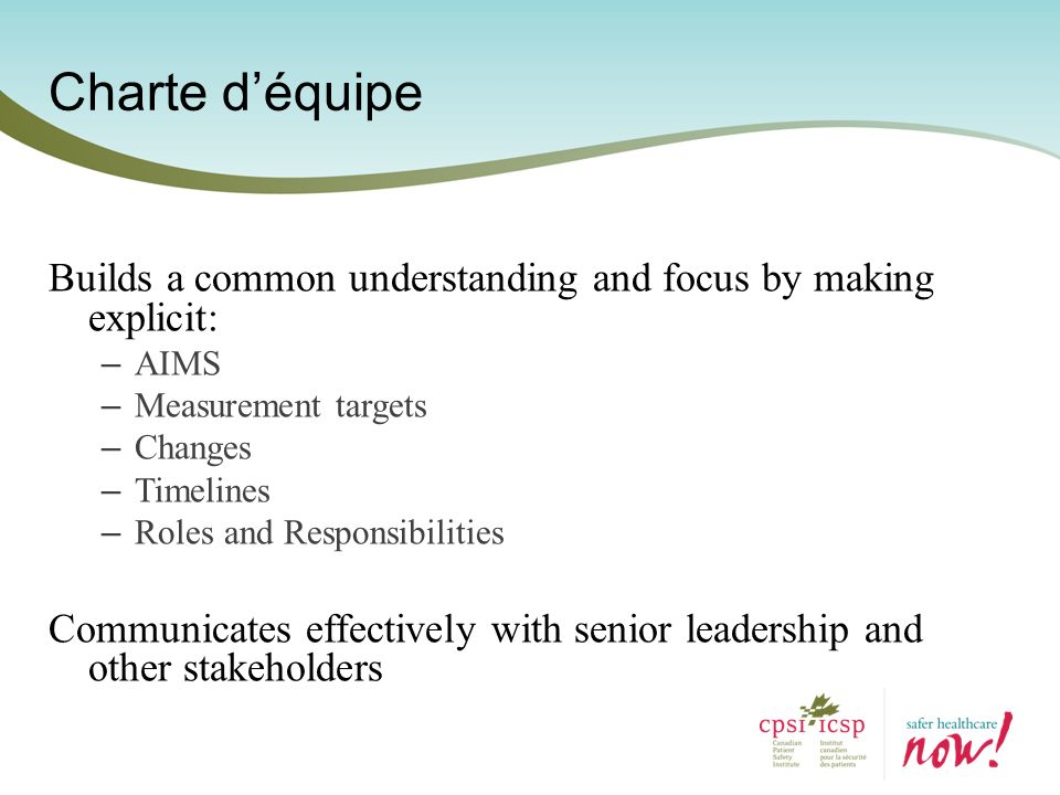 Charte d'équipe Builds a common understanding and focus by making explicit: AIMS. Measurement targets.