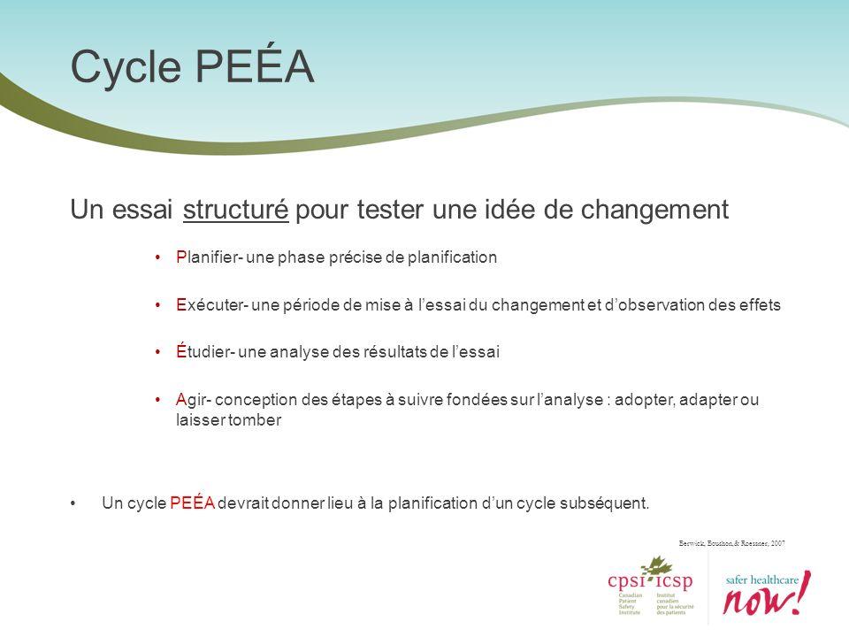 Cycle PEÉA Un essai structuré pour tester une idée de changement