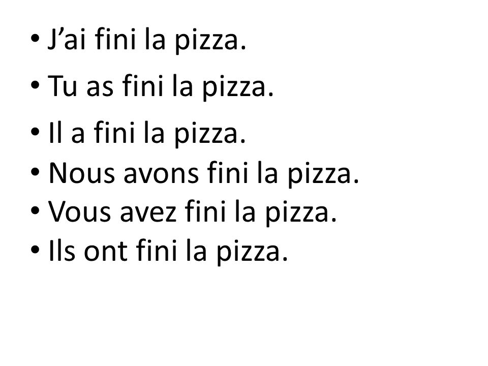 J'ai fini la pizza. Tu as fini la pizza. Il a fini la pizza. Nous avons fini la pizza. Vous avez fini la pizza.