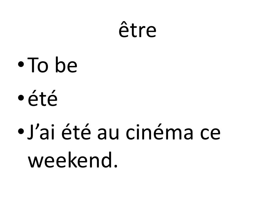 être To be été J'ai été au cinéma ce weekend.