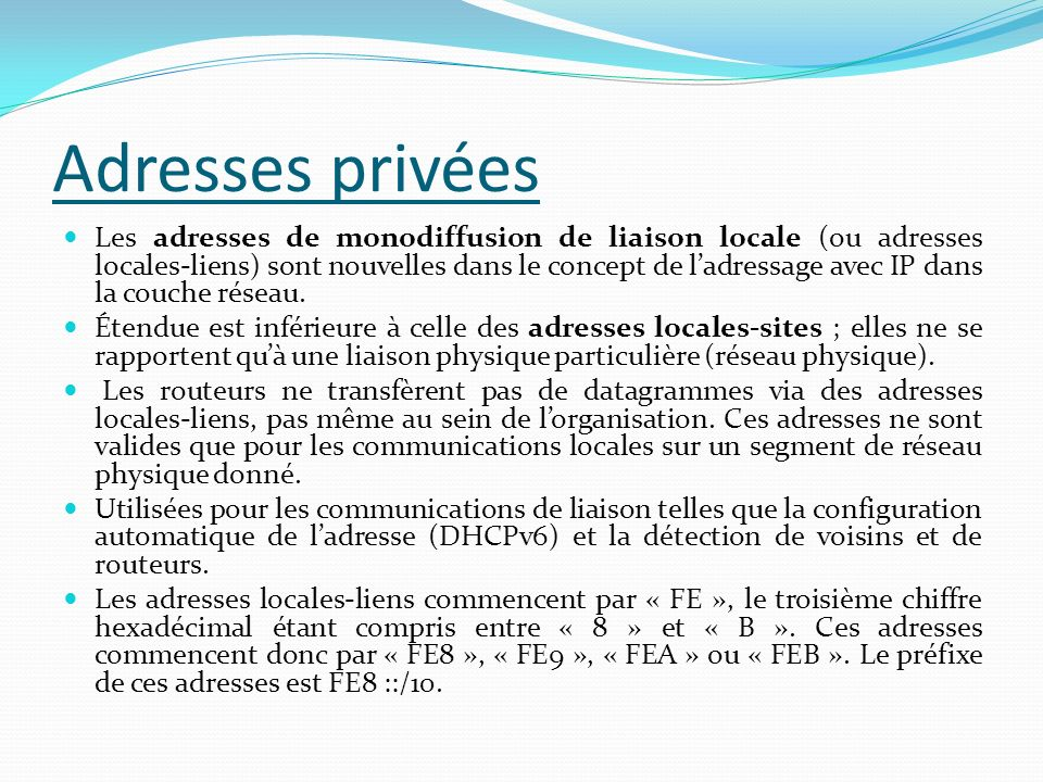 Adresses privées