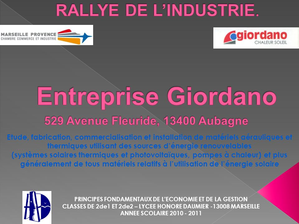 Entreprise Giordano RALLYE DE L'INDUSTRIE.