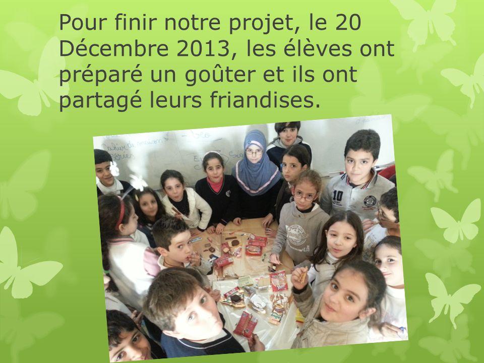 Pour finir notre projet, le 20 Décembre 2013, les élèves ont préparé un goûter et ils ont partagé leurs friandises.