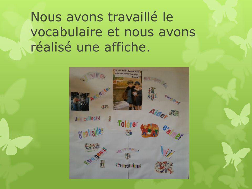 Nous avons travaillé le vocabulaire et nous avons réalisé une affiche.
