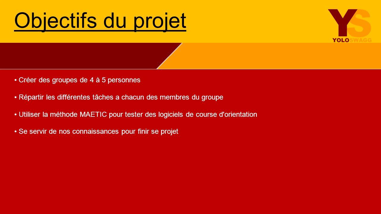 Objectifs du projet • Créer des groupes de 4 à 5 personnes