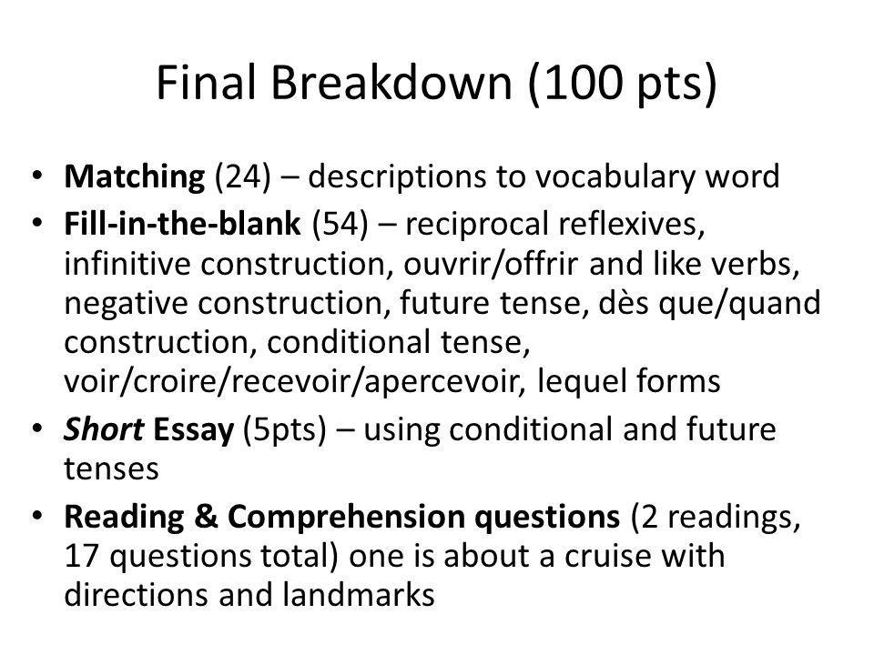 Final Breakdown (100 pts) Matching (24) – descriptions to vocabulary word.