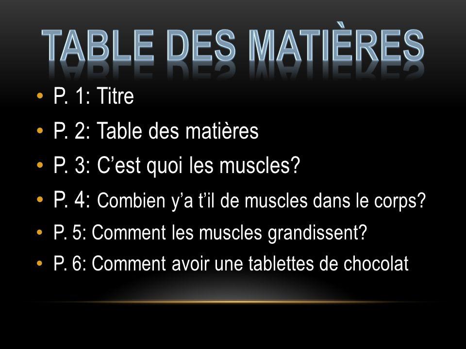 Table des matières P. 1: Titre P. 2: Table des matières