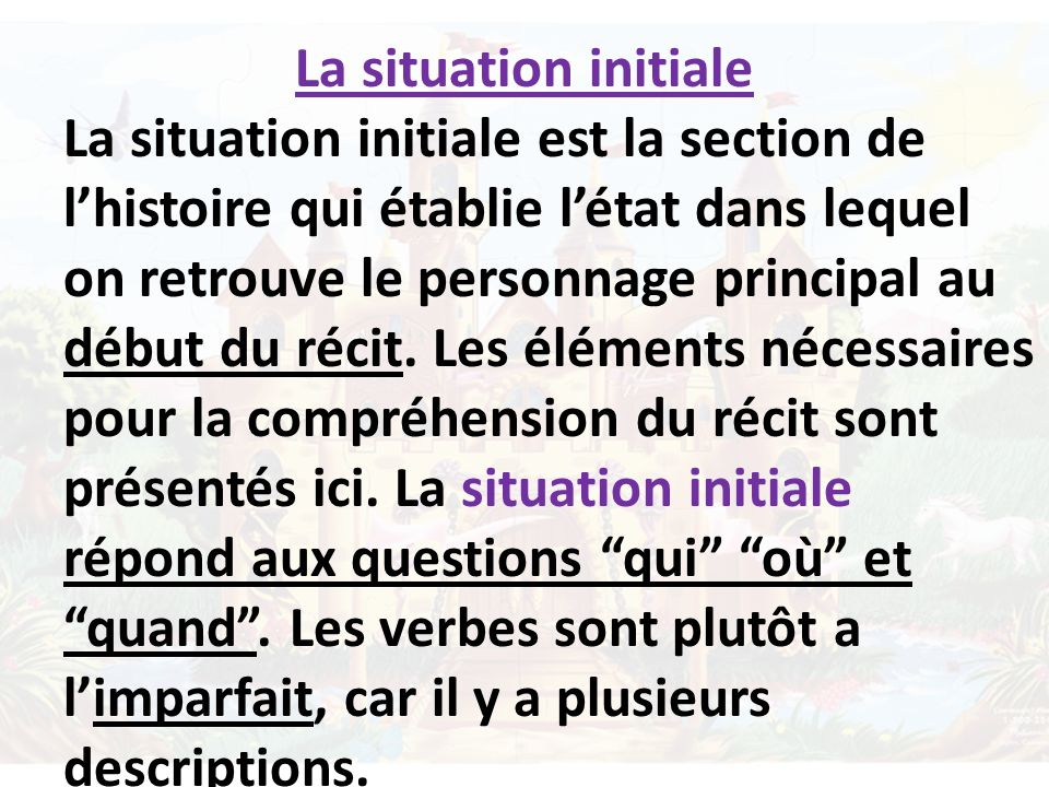 La situation initiale